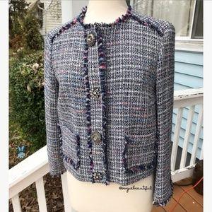 Zara Basic Collection Tweed Embellished Blazer